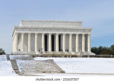 Washington DC, Abraham Lincoln Memorial in snow -  United States