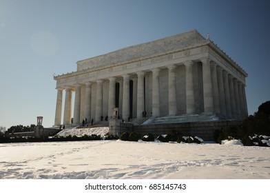 Washington DC after a snow blizzard, USA, winter in Washington DC
