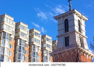 Washington DC apartment building in the historic neighborhood. Modern urban architecture of US capital city near Chinatown suburb.