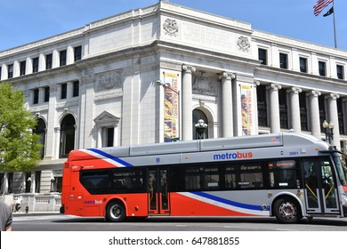 WASHINGTON, DC - APR 15: Metro Bus in Washington, DC, as seen on April 15, 2017. Its fleet consists of 1480 buses covering an area of 1500 square miles in Washington, D.C., Maryland and Virginia.