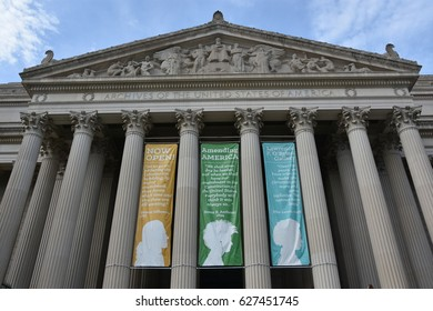 WASHINGTON, DC - APR 15: National Archives in Washington, DC, as seen on April 15, 2017. It holds the original copies of the Declaration of Independence, the Constitution, and the Bill of Rights.