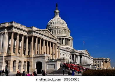Washington, DC - April 10, 2014: The east front of the United States Capitol with the House of Representatives wing on the right, the Senate at far left, and the great dome  *