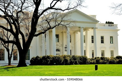 Washington, DC - April  10, 2014:  The North front of the White house with its grand portico and official entrance door