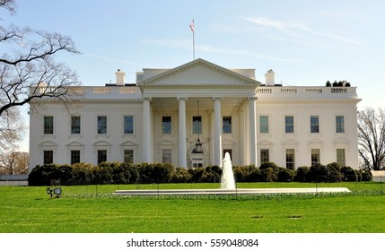 Washington, DC- April 10, 2014:  The North front of the White house with its grand entrance  portico and fountain