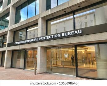 WASHINGTON, DC - APRIL 10, 2019: CFPB - CONSUMER FINANCIAL PROTECTION BUREAU sign at headquarters building