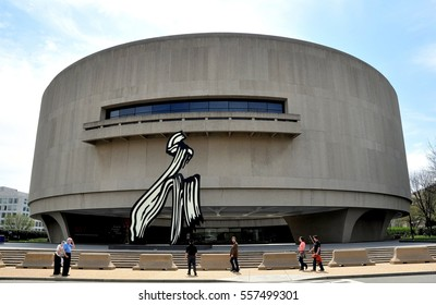 "Washington, DC - April 11, 2014:  The Hirshhorn Museum of Art designed by Gordon Bunshaft jokingly known as the ""Doughnut on the Mall"""