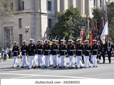WASHINGTON, D.C. - APRIL 12, 2014: US Marine Corps in the 2014 National Cherry Blossom Festival Parade in Washington D.C.