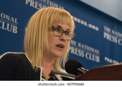 WASHINGTON, DC - APRIL 12, 2016. Patricia Arquette, Academy Award-winning movie actress, speaks on equal pay for women at the National Press Club