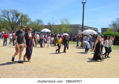 WASHINGTON, DC - APRIL 12: Cherry Blossom Festival on April 12, 2014 in Washington DC,USA. The festival is a spring celebration in Washington, D.C.and people from all over the world come to visit.