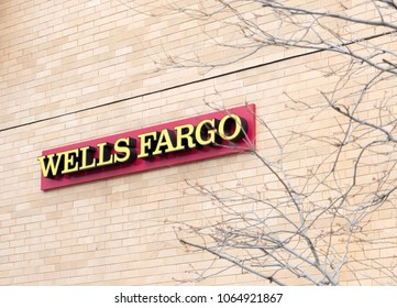 Washington DC, April 2 2018:  A Wells Fargo bank sign at one of its branch offices.