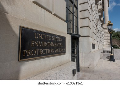 WASHINGTON, DC - APRIL 2017: EPA  headquarters sign at entrance on Constitution Ave. US Environmental Protections Agency, the federal agency that's supposed to protect human health & the environment
