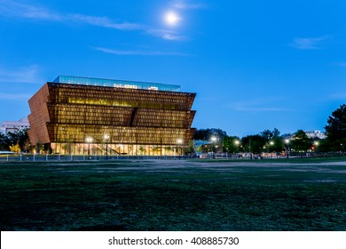 Washington DC - April 20th 2016: National Museum of African American History and Culture on the National Mall. Designed by David Adjaye shown here months before the end of construction.