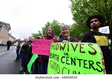 WASHINGTON DC - APRIL 22 2017: Thousands rallied & marched on Earth Day to demand the Trump Administration support science & climate research
