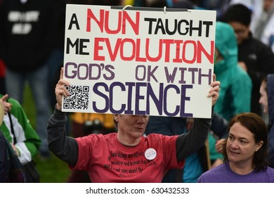 WASHINGTON DC - APRIL 22 2017: Thousands rallied & marched on Earth Day to demand the Trump administration offer more vigorous support for science & climate research.