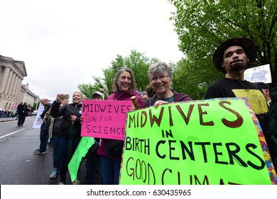 WASHINGTON DC - APRIL 22 2017: thousands rallied & march on Earth Day to demand the Trump Administration support science & climate research