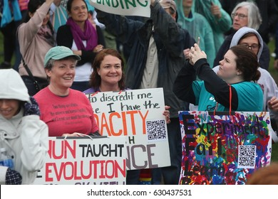 WASHINGTON DC - APRIL 22 2017: thousands rallied & marched on Earth Day to demand the Trump administration provide more support for science & climate research