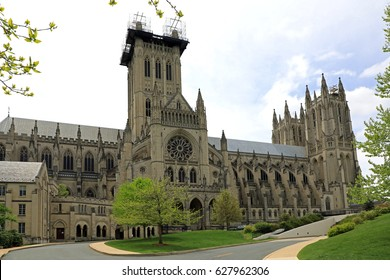 WASHINGTON, DC - APRIL 23: The Washington National Cathedral in Washington, DC on April 23, 2017, is an active Episcopal church in a residential neighborhood, and is undergoing exterior renovations.