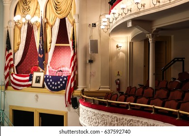 Washington, DC - April 24, 2017: The historic Ford's Theatre, the site of President Lincoln's assassination, continues to host theater productions today.