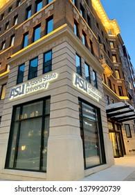 WASHINGTON, DC - APRIL 24, 2019: ARIZONA STATE UNIVERSITY - ASU - office location in DC with sign