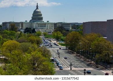 Washington, DC - April 26, 2014: View from Newseum