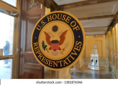 WASHINGTON, DC - APRIL 26, 2019: US HOUSE OF REPRESENTATIVES - sign seal emblem at  HOUSE OFFICE BUILDING