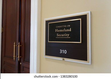 WASHINGTON, DC - APRIL 26, 2019: COMMITTEE ON HOMELAND SECURITY- US HOUSE REPRESENTATIVE - office entrance sign - Cannon House Office Building