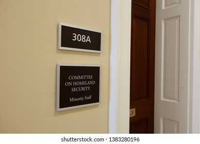 WASHINGTON, DC - APRIL 26, 2019: COMMITTEE ON HOMELAND SECURITY- US HOUSE REPRESENTATIVE - office sign - minority entrance - Cannon House Office Building