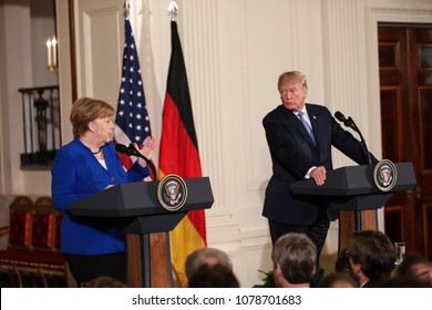 Washington, DC - April 27, 2018: German Chancellor Angela Merkel holds a joint press conference with US President Donald Trump in the White House after having a private meeting and lunch.