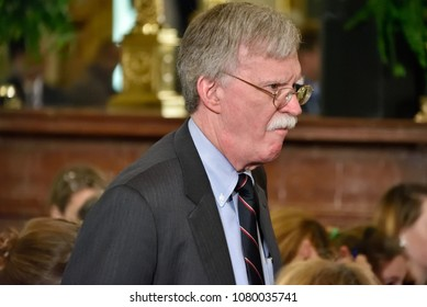 WASHINGTON, DC - APRIL 27, 2018: John Bolton National Security Advisor to the United States attends a joint press conference between President Trump and Chancellor Merkel of Germany.