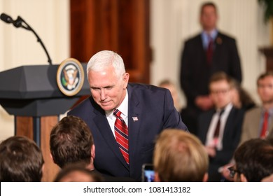 Washington, DC - April 27, 2018: Vice President Mike Pence attends the press conference with US President Donald Trump and German Chancellor Angela Merkel at the White House.