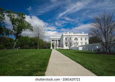 Washington, DC - April 27, 2018: A wide angle view of the White House, home of US President Donald Trump while in office.