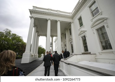 Washington, D.C. - April 27, 2018: A view of the exterior of the White House, home to every United States president since John Adams and the current home of President Donald Trump.