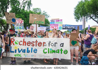 Washington, DC - April 29, 2017: Thousands of people - including a group from Rochester - attend the People's Climate March to stand up against climate change.