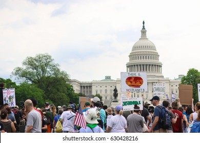 Washington, DC - April 29, 2017: Thousands of people attend the People's Climate March to stand up against climate change.