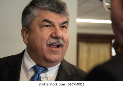 WASHINGTON, DC - April 4, 2017: AFL-CIO President Richard Trumka speaks to a luncheon at the National Press Club