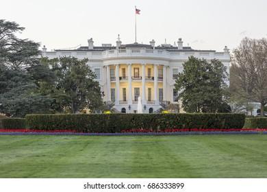 Washington DC April 4, 2017: White House South Lawn in Washington DC on an overcast Spring Day.