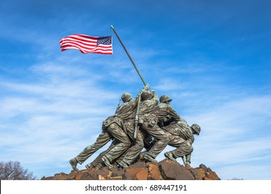 WASHINGTON, DC - APRIL 5, 2015: Marine Corps War Memorial. The memorial features the statues of servicemen who raised the second U.S. flag on Iwo Jima during World War II.