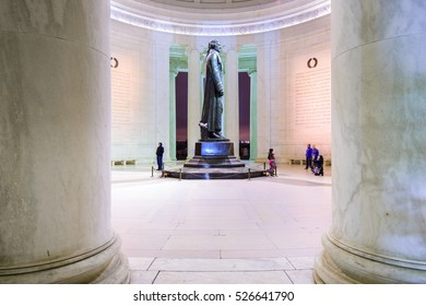 WASHINGTON DC - APRIL 7, 2015: The bronze statue inside the Jefferson Memorial. Thomas Jefferson was a founding father of the United States and served as the third President.