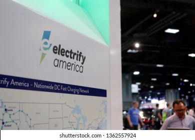 WASHINGTON, DC - APRIL 7, 2019: ELECTRIFY AMERICA - ELECTRIC CAR STATION - WASHINGTON AUTO SHOW - CLOSE UP OF ELECTRIC REFILL STATION