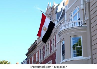 Washington, DC - April 8th 2016: Flag over Egyptian Embassy