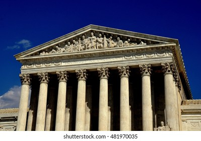 Washington, DC - April 9, 2014: Neo-classical west front of the 1935 United States Supreme Court on First Street SE with its majestic Corinthian columns and tympanum bas reliefs