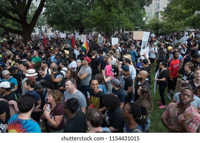 WASHINGTON, DC - AUG. 12, 2018:  Protesting the Unite the Right white nationalist rally in front of the White House, some of  thousands of demonstrators at the counter-protest in Lafayette Square.