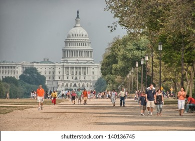 WASHINGTON, DC - AUG 15: Tourists explore city landmarks, August 15, 2009 in Washington, DC. More than 15 million people visit the city every year.