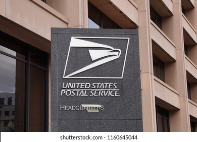 WASHINGTON, DC - AUG 18, 2018: United States Postal Service sign outside the headquarters in Downtown Washington DC
