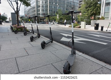 WASHINGTON, DC - Aug. 7, 2018: Bird dockless electric scooters downtown await downtown riders. Bird is one of several dockless bike companies in DC; introduced dockless electric scooters in March 2018