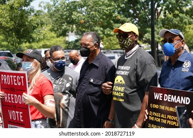 Washington, DC – August 02, 2021: Rev. Jesse Jackson during the Poor People's campaign march for Voters Rights on Capitol Hill.