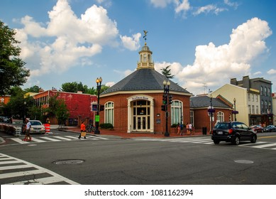 Washington, D.C.USA -  August 05, 2012: SunTrust Bank on M Street NW and 30th Street NW crossroad in Georgetown