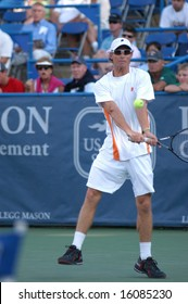 WASHINGTON, D.C. - AUGUST 11, 2008:  Rik De Voest (RSA) during his first-round loss to Tommy Haas (GER, not pictured) at the Legg Mason Tennis Classic