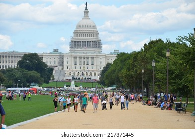 WASHINGTON, DC - AUGUST 17: Washington DC Capitol on AUGUST 17, 2014 in Washington DC,USA. The Capitol is a famous attraction in Washington DC, and people from all over the world come to visit.