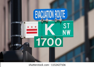 WASHINGTON, DC - AUGUST 20, 2017: Evacuation route and street sign along K Street in Washington, DC. The term, K Street, is synonymous with lobbyists and the lobbying industry.